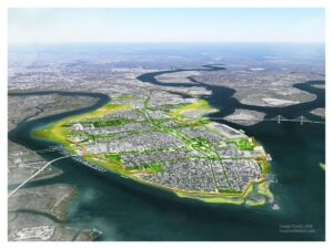 overhead photo of alternative to the U.S. Army Corps of Engineers (USACE) proposed perimeter flood wall project around Charleston, SC by Applied Technology & Management, Biohabitats, Designworks, and ONE Architecture
